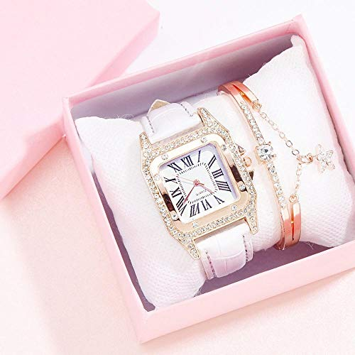 Powzz ornament Reloj de cuarzo clásico con cabeza cuadrada y correa de poliuretano, reloj blanco + pulsera