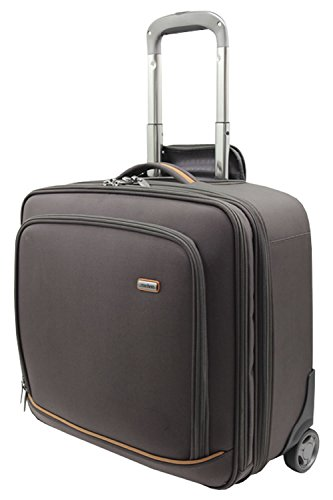 "Melvin Wheeled Briefcase Trolley 17"" in Brown 125-004"