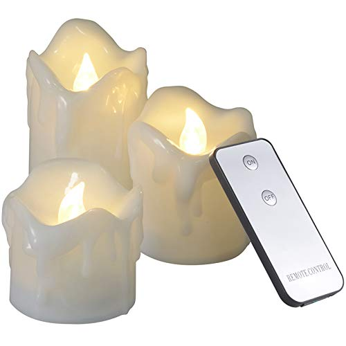Teelichter mit Fernbedienung, Ymenow 3er Set Flammenlose LED Kerzen Batteriebetriebene Flackernde Votivkerzen mit gefälschte Tropfwachs für Innen Hause Hochzeits Geburtstag Urlaub Party Dekoration