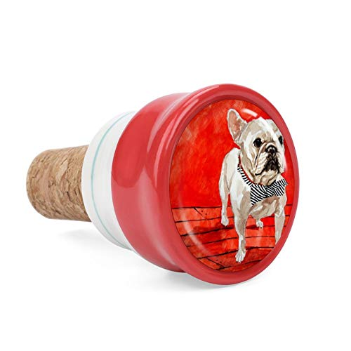 Animal French Bulldogs Wine Cork Wine Bottle Stoppers Ceramic Plug for Wine Lover Gifts, Bar, Kitchen, Holiday Party, Wedding - Keep Wine Fresh