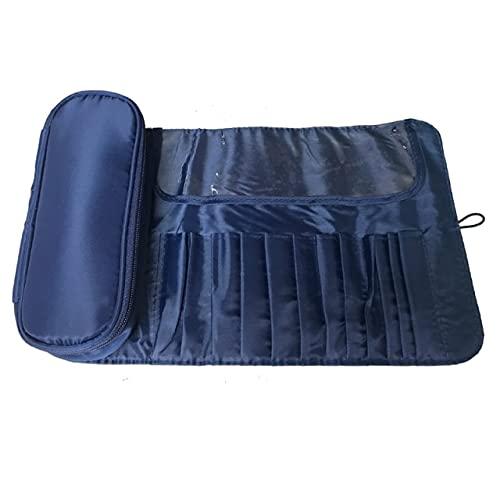 Señoras Bolsa de Cepillo cosmético Bolsa de Almacenamiento de Viaje Cepillo cosmético Bolsa de Rollo de Herramientas Plegable Bolsa de cosméticos de Nailon Impermeable - Azul Marino Bolsa vacía