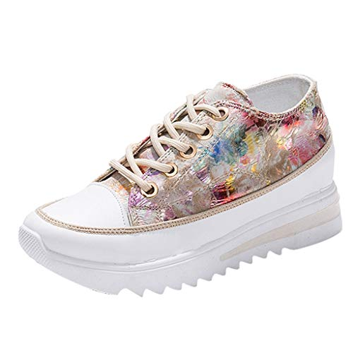 Kiminana Women Fashion Muffin Shoes Sweet Tie-Dyeing Thick Bottom Shoes Outdoor Sneakers Comfy Wedge Shoes