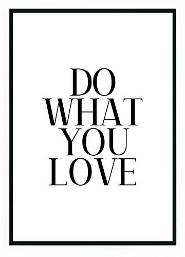 moebeldeal Poster DIN A4 - Do What You Love Plakat Bild Spruch Sprüche Slogan Schwarz Weiß Motivation Küche Zitat Typografie Print Deko