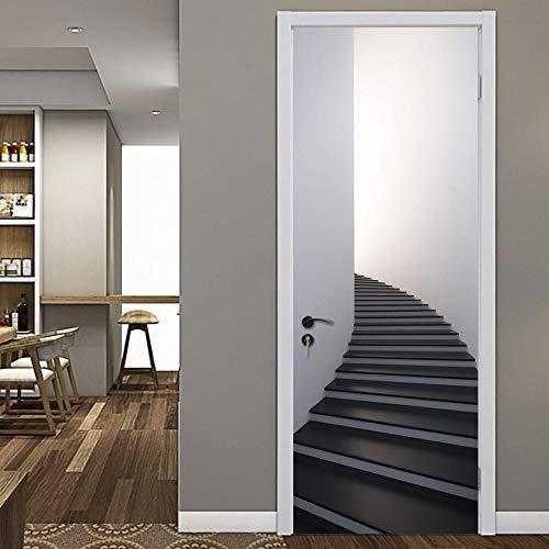 SMHCHA 3D Türaufkleber Atmosphärische Schwarze Treppe selbstklebend Tür Aufkleber PVC Fototapete Türfolie DIY Selbstklebende Wandbild Fenster Türtapete Abnehmbar 77X200CM