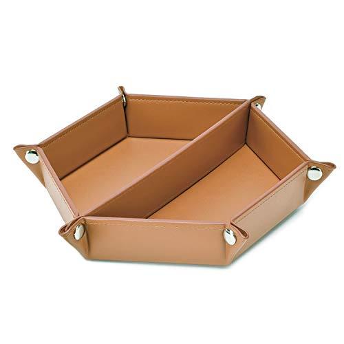 LISRSC Vaciabolsillos de piel sintética, bandeja plegable para llaves, 2 compartimentos, bandeja para teléfono móvil, relojes, joyas, llaves, monedas, gafas (color marrón)