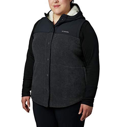 Columbia Women's Plus Size Benton Springs Overlay Vest, Charcoal Heather/Shark, 3X