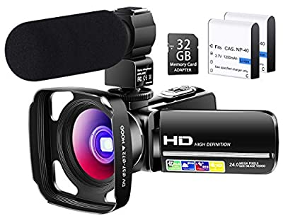 Besungo Ultra HD 4K Camcorder Video Camera with Rechargeable Microphone 2.4G Remote Control Vlogging YouTube Camera 60FPS 48MP IR Night Vision with Wide Angle Lens, Lens Hood, Batteries… by Besungo