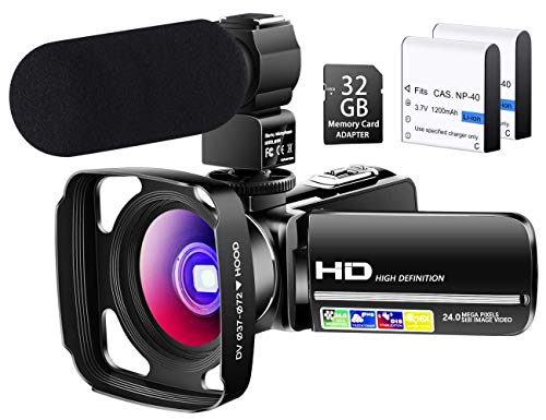 【Full Upgrade】 Besungo Ultra HD Video Camera Camcorder with Powerful Microphone 1080P Vlogging...
