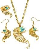 DUEJJH Co.,ltd Collar de pájaro Verde Papua Nueva Guinea, Collar, Pendientes, Conjuntos de Anillos para Mujer, joyería de Estilo, Regalos de Boda, Longitud 60 cm X 3 mm