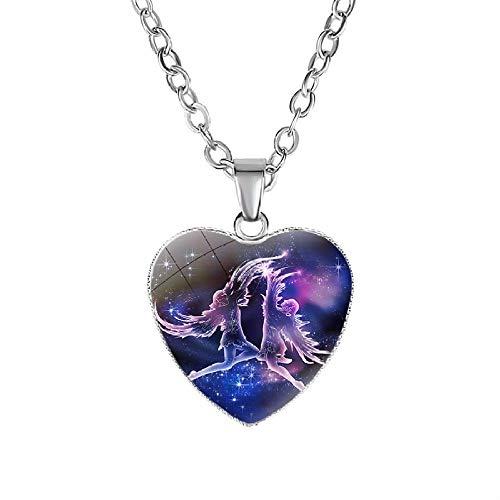 Constelaciones Collares,12 Gemini Zodiac Corazón Colgante Collar Constelación Declaración Collares para Mujeres Regalos De Fiesta De Boda