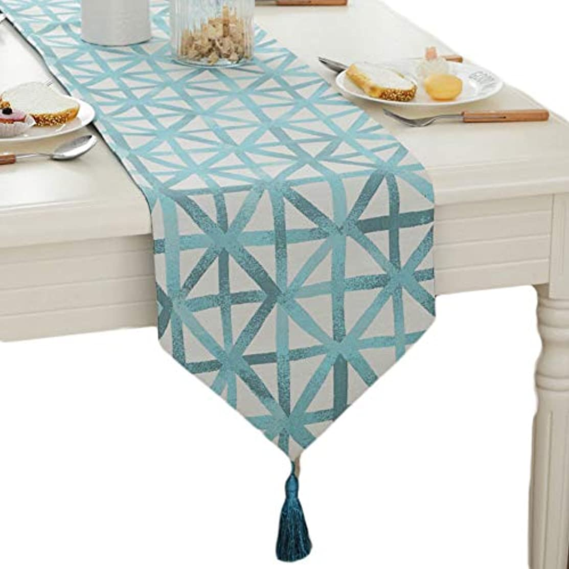 Cityeast Geometric Table Runner with Jacquard Tassel Pendant Polyester TV Cabinet Bar Coffee Table Hotel Table Runner for Home Dining BBQ Parties, 12.6 x 63 Inches, Light Blue