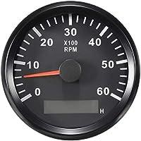 ELING Tacómetro RPM Tacho Gauge Con Cronómetro para Coche Camión Barco Yate 0-6000RPM 85mm Con Luz de Fondo