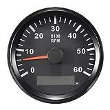 ELING Tachimetro RPM Tachimetro con contaore per auto camion barca 0-6000RPM 85mm con retroilluminazione