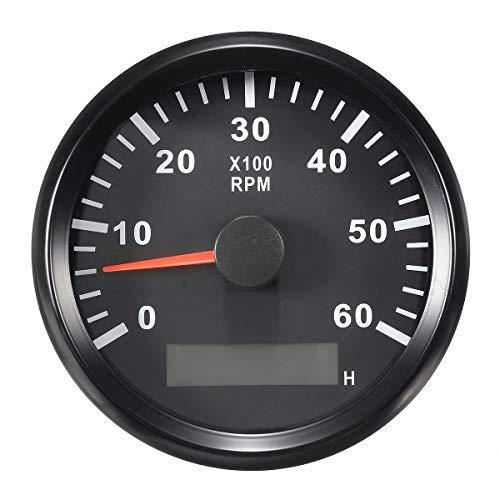 Eling Tachometer, Drehzahlmesser mit Stundenanzeige für Auto, LKW, Boot, Yacht, 0–6000 U/min, 85 mm mit Hintergrundbeleuchtung