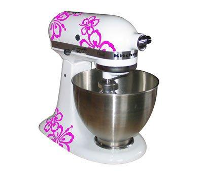 Grafix Werbung u. Design Aufkleber für Kitchenaid Küchenmaschine Hibiskus - Kitchenaid 2-Set rosa Vinyl