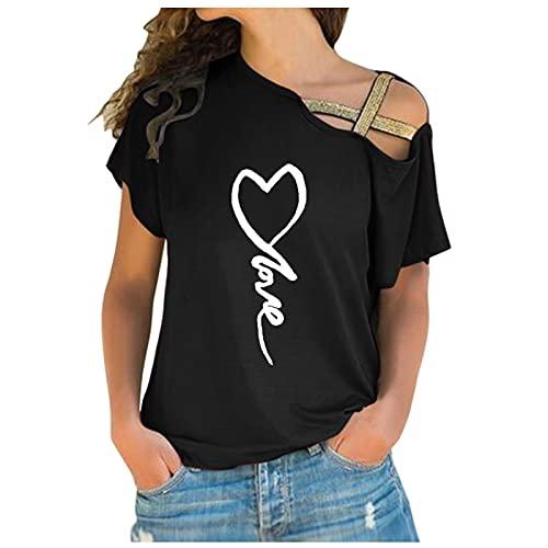 Lilygodx Camisetas Mujer Originales Baratas Camisetas de Vestir Mujer Verano Tallas Grandes Manga Corta Cuello Redondo Blusa de Fiesta Mujer Camisetas con Hombros Descubiertos (Negro, L)