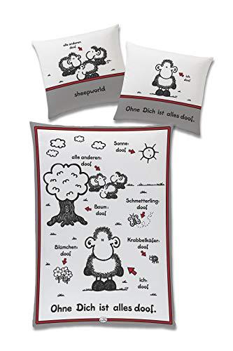"""tex idea GmbH Sheepworld Bettwäsche Schäfchen """"Ohne Dich ist Alles doof"""", Baumwolle Bezug 135 cm x 200 cm, Kopfkissen 80 cm x 80 cm"""