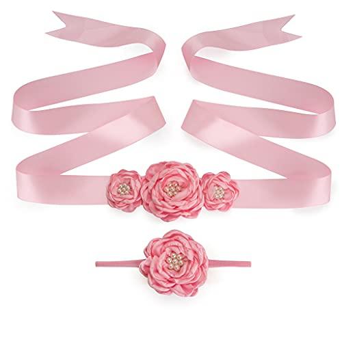 Afrsmw Cinturón Niña de Las Flores con Flor Diademas Cinturón Nupcial Vestidos...