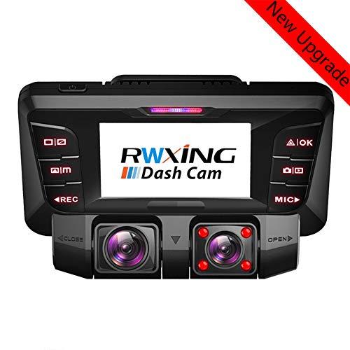 4K WiFi Dashcam Auto Vorne Hinten Dual 340° Wide Angle Kamera mit 256GB SD Karte und Sony WDR Infrarot Nachtsicht Bewegungsmelder Akku Parküberwachung, Autokamera Camcorder Tiberwachung Dash Cam