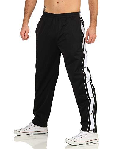 ZARMEXX Herren Trainingshose mit seitlicher Knopfleiste zum öffnen Button Up Sporthose Freizeithose Jogginghose Sportswear (schwarz, XL)