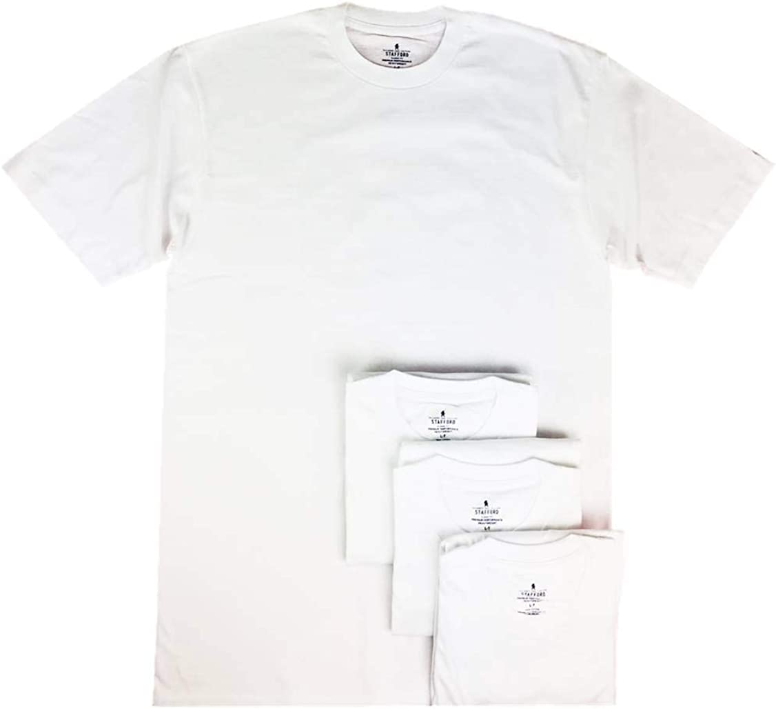 Stafford Men's Tall/Extra Tall 100% Heavy Weight Cotton Crew Neck Undershirt, White, Short Sleeve, 4 Pack