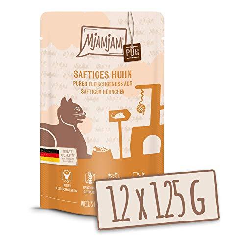 MjAMjAM - Premium Nassfutter für Katzen - Quetschie - purer Fleischgenuss - saftiges Hühnchen pur, 12er Pack (12 x 125 g), getreidefrei mit extra viel Fleisch