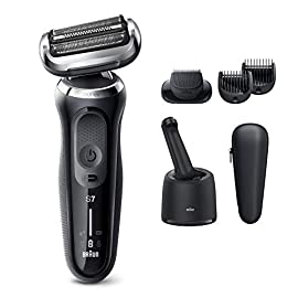Braun Electric Razor for Men, Series 7 7075cc 360 Flex Head Electric Shaver with Beard Trimmer, Rechargeable, Wet & Dry, 4in1 SmartCare Center and Travel Case, Black - 41ER4GZC5rL - Braun Electric Razor for Men, Series 7 7075cc 360 Flex Head Electric Shaver with Beard Trimmer, Rechargeable, Wet & Dry, 4in1 SmartCare Center and Travel Case, Black