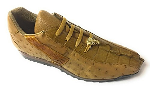 Belvedere Studio Men's Forte Leather Antique Saddle Ostrich Caiman Dress Sneaker (US 12 M)