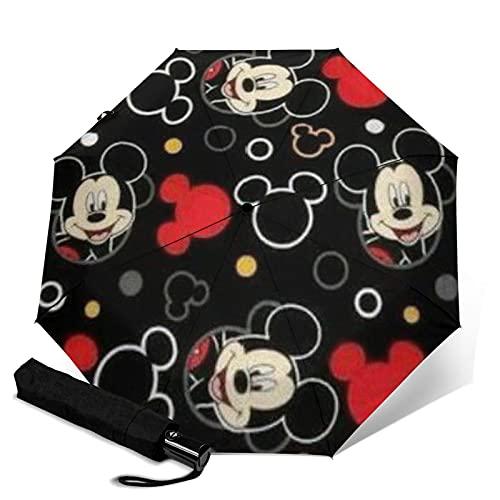 Mickey Mouse Paraguas automático de tres plegables, ligero y pequeño, doble propósito para lluvia y sol, parasol, protector solar y protección UV