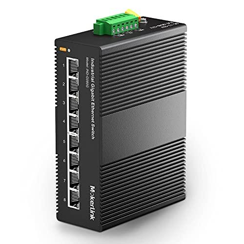 mokerlink 8 Porte Gigabit Ethernet Switch Industriale su Guida DIN, capacità di Commutazione 16Gbps, Switch di Rete Non Gestito IP40 (da -40 a 185°F), con Alimentazione