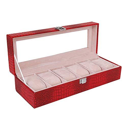 OH Orologio Box Organizzatore 6 Slot Pu Custodia in Pelle Di Cuoio Di Cuoio con Display in Vetro Top Gioielli Organizer Eleganza per Gli Uomini Birthday Xmas Presents, Nero Usscale.