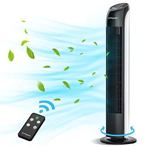 Dr.Prepare Ventilatore a torre con telecomando, 85 cm, ventilatore da pavimento, per camera da letto, camera da letto