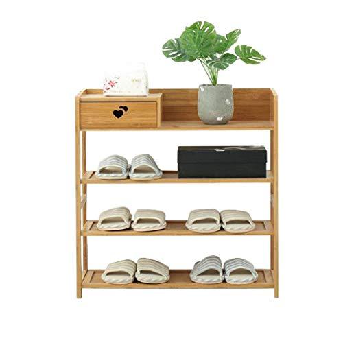 Zapatero de bambú de 4 niveles con organizador de almacenamiento de cajones |Estantes de zapatos de madera maciza para el baño del pasillo del pasillo - Almacene 9 pares de zapatos - 65x25x66cm