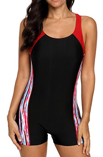 beautyin Athletic Swimsuit One Piece for Womens Colorblock Sport Bathing Suit M