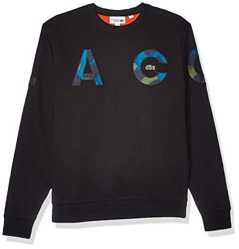 Lacoste Mens Sport Long Sleeve Camo Letters Crewneck Sweatshirt, Black/Black/Illumination/Bush El/Geranium, L