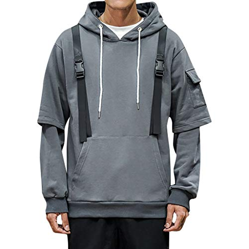 New WYTong Mens Athletic Hoodies Fashion Long Sleeve Pullover Sweatshirt Tops Blouse With Big Pocket(Gray,L)