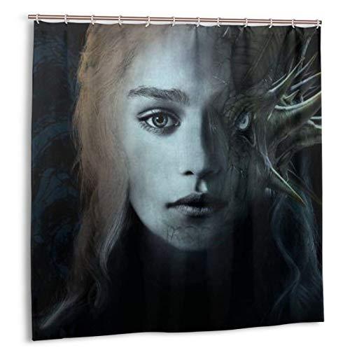 Juego Tronos cortina de ducha impermeable decoración del baño del hogar con 12 ganchos lavable poliéster 72x72 en