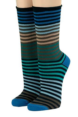 CRÖNERT Herren Longsocks Socken mit Rollrand Design Multiringel 26502 (39-42, kobalt 1865)