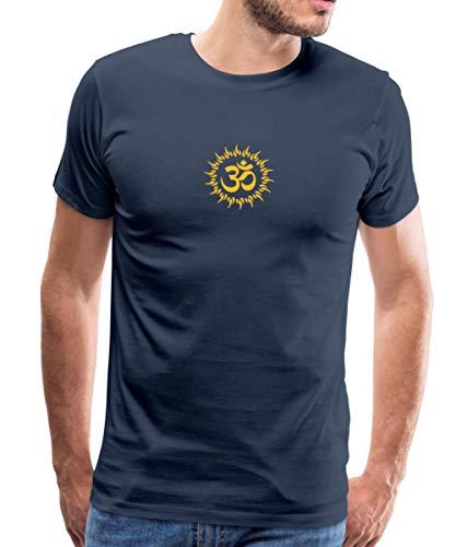 Yoga Om Zeichen Meditation Männer Premium T-Shirt, L, Navy