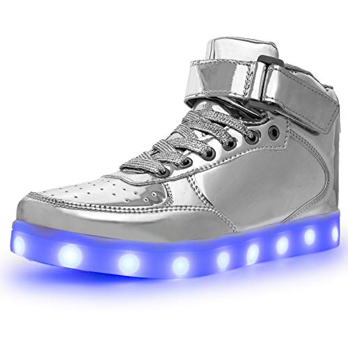 LED Light Up Shoes High top Sneakers Flashing Dancing Shoes for Women Men Gift with USB Charging Glowing Luminous Shoes Silver