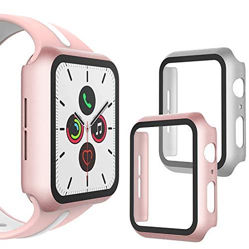 WD&CD [2 Pack] Funda Compatible con Apple Watch 40mm Series 4/Series 5/Series 6/SE, Protector de Pantalla Compatible con Apple Watch 40mm Series SE/6/5/4- Plata & Oro Rosa