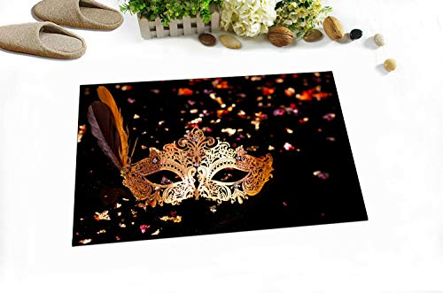 taquxinlaowan Gold Karneval Maske Duschvorhang Liner Badezimmer Mat Set Polyester Stoff Haken