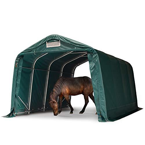 TOOLPORT Robustes Weidezelt 3,3x4,8 m wetterfeste ca. 550g/m² PVC Plane Unterstand für Pferde Offenstall Stall grün