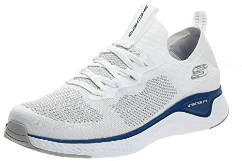 Skechers Solar Fuse, Zapatillas sin Cordones Hombre, Azul (White Knit/PU/Blue Trim Wbl), 39.5 EU