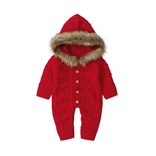 Livoral Winter Baby BoyGirl Pullover mit Kapuze gestrickte Kunstpelzkragen warme Overall Kleidung(D-Rot,0-3 Monate)