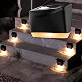 Solar Deck Lights,Mini Solar Step Lights Outdoor Waterproof Solar Powered LED Fence Step Lighting Outdoor Decorative for Wall,Patio,Deck,Stairs, Garden ,Walkway 6 Pack Warm White