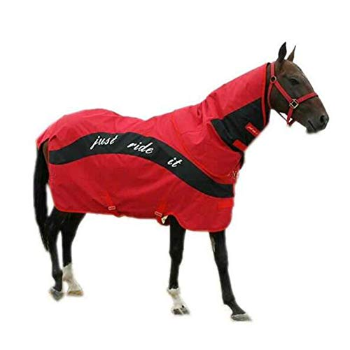 LGFV Silla de Montar Manta de Caballo Abrigo de Caballo Impermeable a Prueba De Viento Resistente a La Rotura Cuello Desmontable, Rojo,150cm