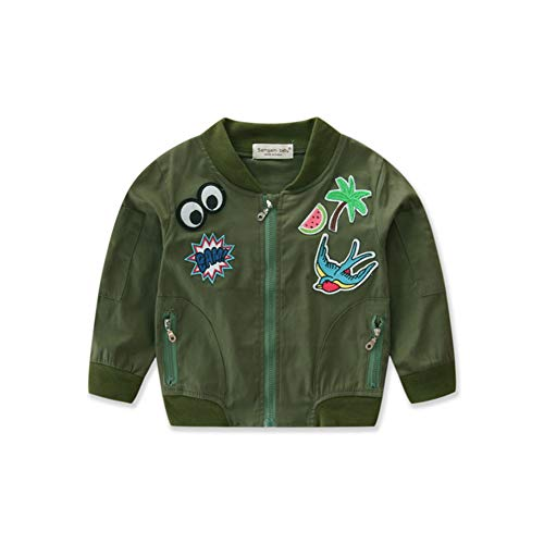 Milkiwai Automne Enfants Maillot de Bbaseball Brodé Armée Vert Veste Courte Imprimé Manteau Size 6T (Dark Green)