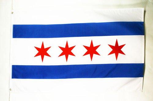 AZ FLAG Drapeau Chicago 150x90cm - Drapeau Etat américain - USA - Etats-Unis 90 x 150 cm - Drapeaux
