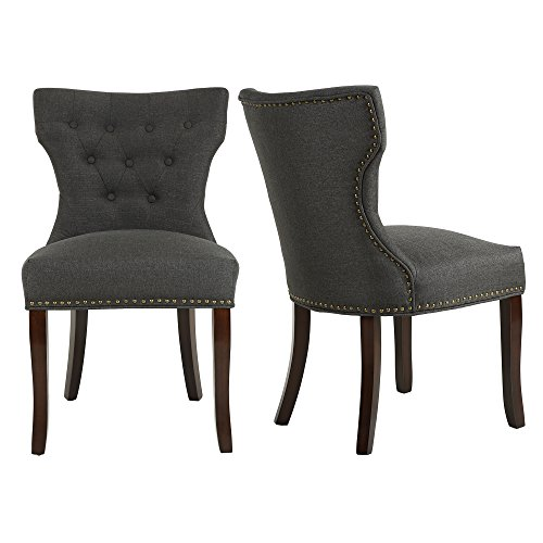 LSSBOUGHT Set of 2 Fabric Dining Chairs Leisure Padded Chairs with Brown Solid Wooden Legs,Nailed Trim (Beige)